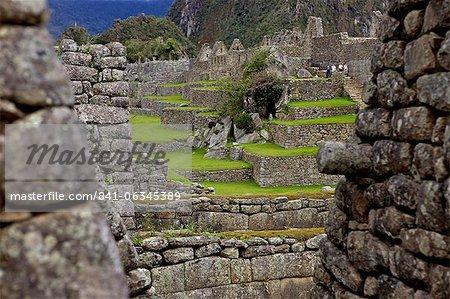 Inca wall, Machu Picchu, peru, peruvian, south america, south american, latin america, latin american South America. The lost city of the Inca was rediscovered by Hiram Bingham in 1911