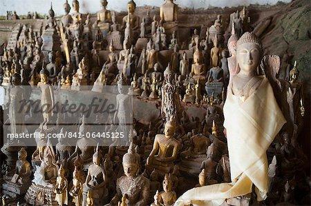 Hundreds of Buddhas at Pak Ou Caves, Luang Prabang, Laos, Indochina, Southeast Asia, Asia