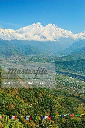 Annapurna Himal and Machapuchare seen from Sarangkot, Gandaki Zone, Western Region, Nepal, Himalayas, Asia