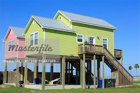 Beach houses in North Beach, Corpus Christi, Texas, United States of America, North America