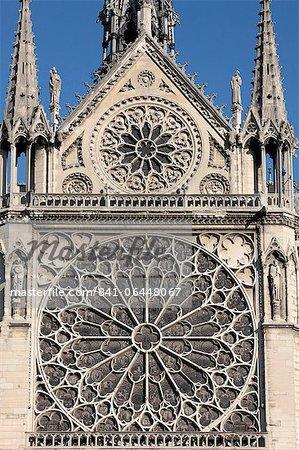 Southern facade of Notre-Dame de Paris cathedral, Paris, France, Europe