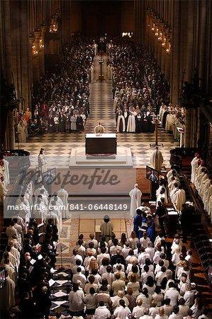 Easter week celebration (Chrism mass) in Notre Dame Cathedral, Paris, France, Europe