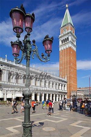 Campanile and Piazza San Marco, Venice, UNESCO World Heritage Site, Veneto, Italy, Europe