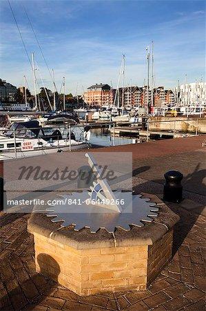 Sundial at Ipswich Haven Marina, Ipswich, Suffolk, England, United Kingdom, Europe
