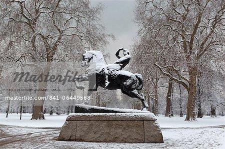 Physical Energy statue in winter, Kensington Gardens, London, England, United Kingdom, Europe