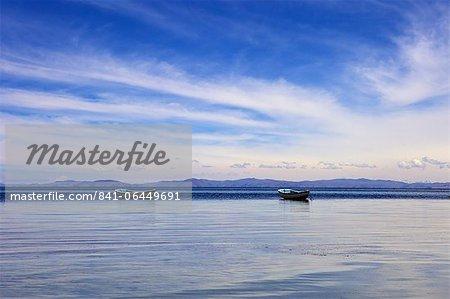 Two boats on the lake, Kollabaya, Challapampa, Isla del Sol, Lake Titicaca, Bolivia, South America