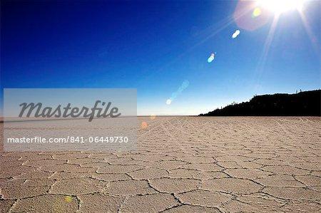 Isla de los Pescadores and salt flats, Salar de Uyuni, Southwest Highlands, Bolivia, South America