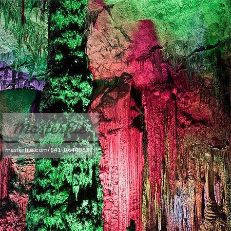 Light show, inside the Caves d'Arta, Llevant, Mallorca, Balearic Islands, Spain, Europe