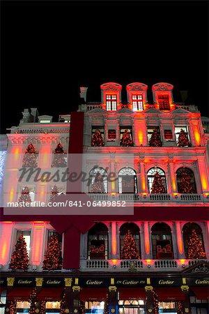 Christmas decorations on the Cartier building on Bond Street, London, England, United Kingdom, Europe