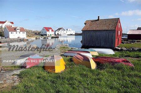 Upturned boats, South Harbour, Utsire island, west of Karmoy, Norway, Scandinavia, Europe