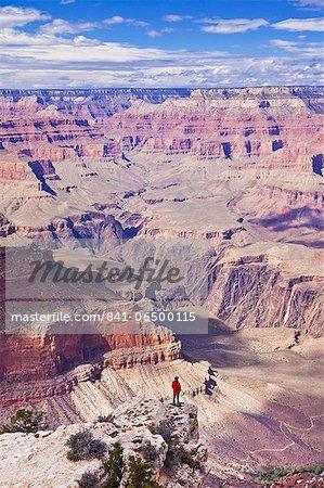 Lone hiker near Yavapai Point Overlook, South Rim, Grand Canyon National Park, UNESCO World Heritage Site, Arizona, United States of America, North America