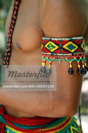 Detail of the costume of the Pataxo Indian people at the Reserva Indigena da Jaqueira near Porto Seguro, Bahia, Brazil, South America