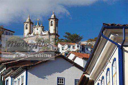 View of colonial buildings and Nossa Senhora do Carmo (Our Lady of Mount Carmel) Church, Ouro Preto, UNESCO World Heritage Site, Minas Gerais, Brazil, South America