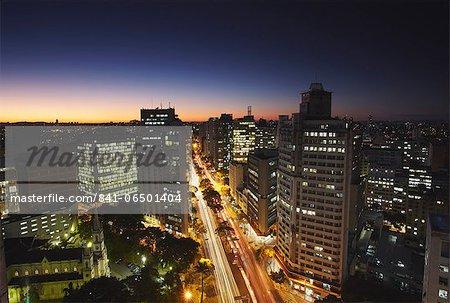 City skyline at dusk, Belo Horizonte, Minas Gerais, Brazil, South America