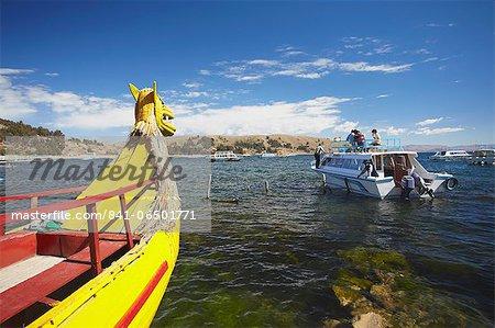 Tourist boat on Lake Titicaca, Copacabana, Bolivia, South America