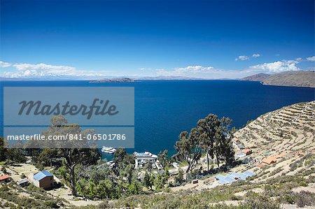 View of Yumani, Isla del Sol (Island of the Sun), Lake Titicaca, Bolivia, South America