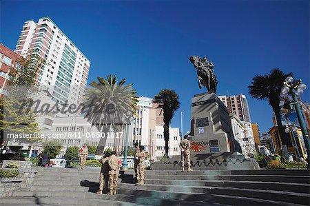Statue of Antonio Jose de Sucre in Plaza del Estudiante, La Paz, Bolivia, South America