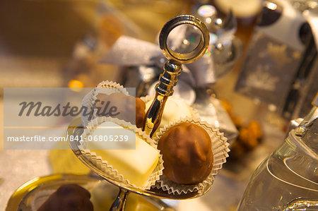Chocolate truffles in a sweet shop, Brussels, Belgium, Europe