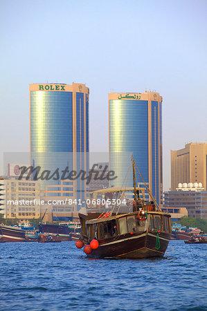 Tourist boat on Dubai Creek, Dubai, United Arab Emirates, Middle East