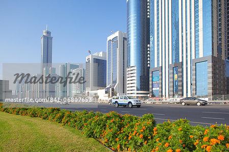 Skyscrapers on Sheikh Zayed Road, Dubai, United Arab Emirates, Middle East