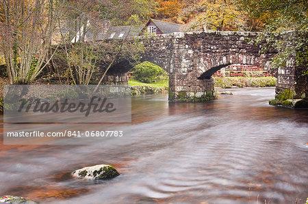 Fingle Bridge and the River Teign, Dartmoor National Park, Devon, England, United Kingdom, Europe