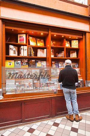 A book shop in Passage Jouffroy, central Paris, France, Europe