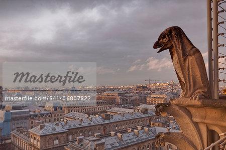 A gargoyle on Notre Dame de Paris cathedral looks over the city, Paris, France, Europe