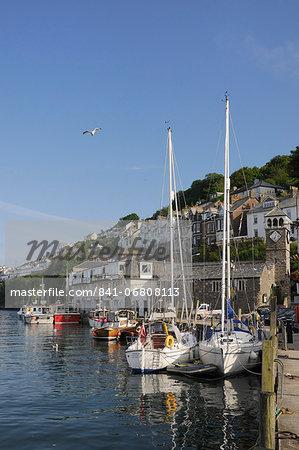 Sailing yachts moored in Looe harbour, Cornwall, England, United Kingdom, Europe