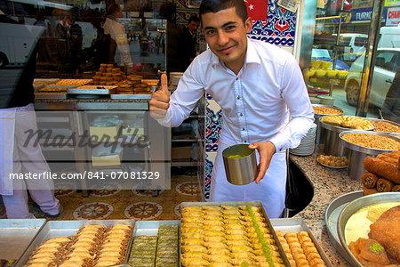 Baker, Baklava Shop, Istanbul, Turkey, Europe