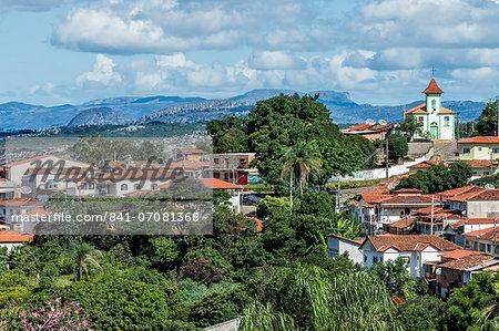 View over Diamantina and the Nossa Senhora da Consola Church, UNESCO World Heritage Site, Minas Gerais, Brazil, South America