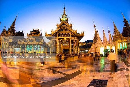 Fisheye shot at night of temples at Shwedagon Paya (Pagoda), Yangon (Rangoon), Myanmar (Burma), Asia
