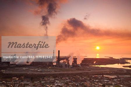 Blast furnaces, Corus Steelworks, Port Talbot, Glamorgan, Wales, United Kingdom, Europe