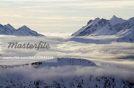 Europe, France, French Alps, Haute-Savoie, Chamonix, Chamonix valley, sea of clouds