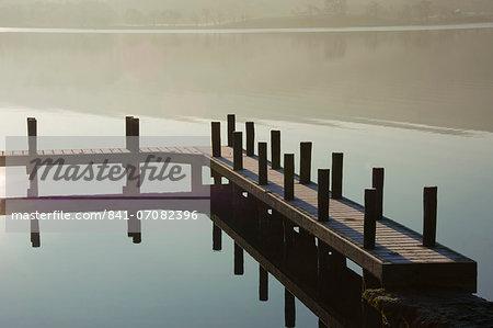 Boat Landing at dawn, Lake Ullswater, Lake District National Park, Cumbria, England, United Kingdom, Europe