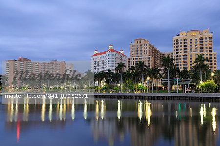 Skyline of West Palm Beach, Florida, United States of America, North America