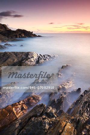 Rocky coast at sunset, Leas Foot Sand, Thurlestone, South Hams, Devon, England, United Kingdom, Europe