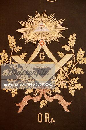 Masonic banner, Grande Loge de France, Paris, France, Europe