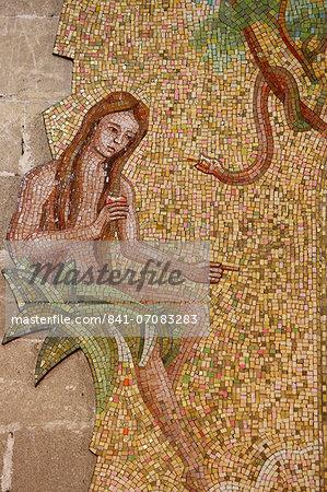 Mosaic of Eve and the serpent in Sacro Cuore di Gesu church, Gallipoli, Lecce, Apulia, Italy, Europe