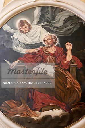 Painting depicting the evangelist St. Matthew in Nativita Beata Vergine Maria church, Tricase, Lecce, Apulia, Italy, Europe
