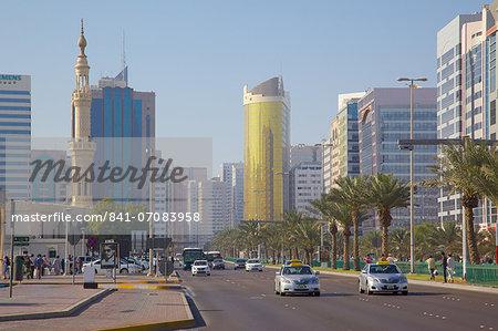 Architecture and traffic on Fourth Street, Abu Dhabi, United Arab Emirates, Middle East