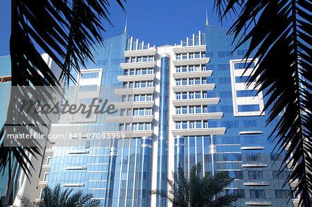 Architecture on Fourth Street, Abu Dhabi, United Arab Emirates, Middle East