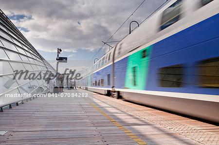 A TGV pulls into the train station of Avignon TGV, Vaucluse, France, Europe