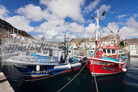 Fishing boats at the old port of Puerto de Mogan, Gran Canaria, Canary Islands, Spain, Atlantic, Europe