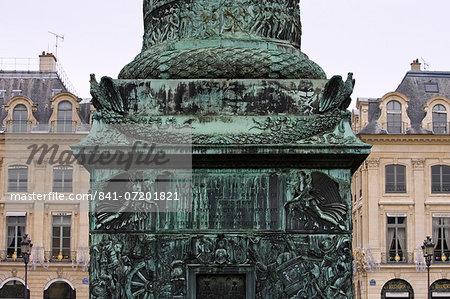 Base of La Colonne Vend̫me, staue of Napoleon, Place Vend̫me, Paris, France