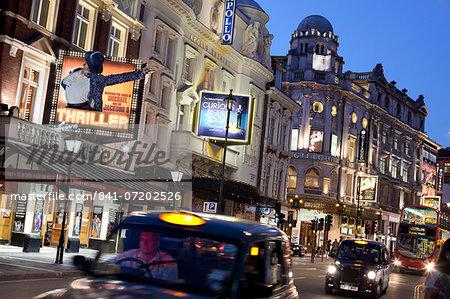 Theatres at night, Shaftesbury Avenue, London, England, United Kingdom, Europe