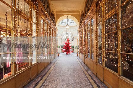 Christmas tree in Galerie Colbert, Paris, Ile de France, France, Europe