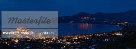 Calvi at night, Balagne, Corsica, France, Mediterranean, Europe