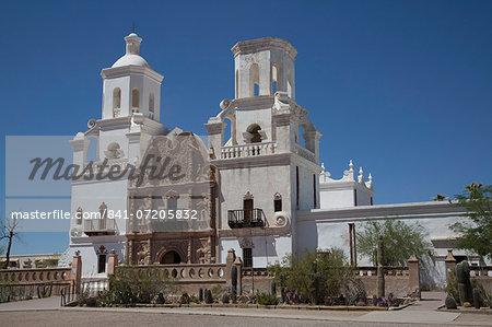 San Xavier del Bac Mission, founded in 1692, National Historic Landmark, Tohono O'odham San Xavier Indian Reservation, Arizona, United States of America, North America