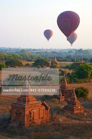 Hot air balloons above Bagan (Pagan), Myanmar (Burma), Asia