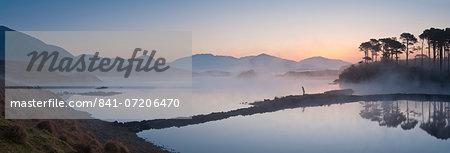 Derryclare Lough at dawn, Connemara, County Galway, Connacht, Republic of Ireland, Europe